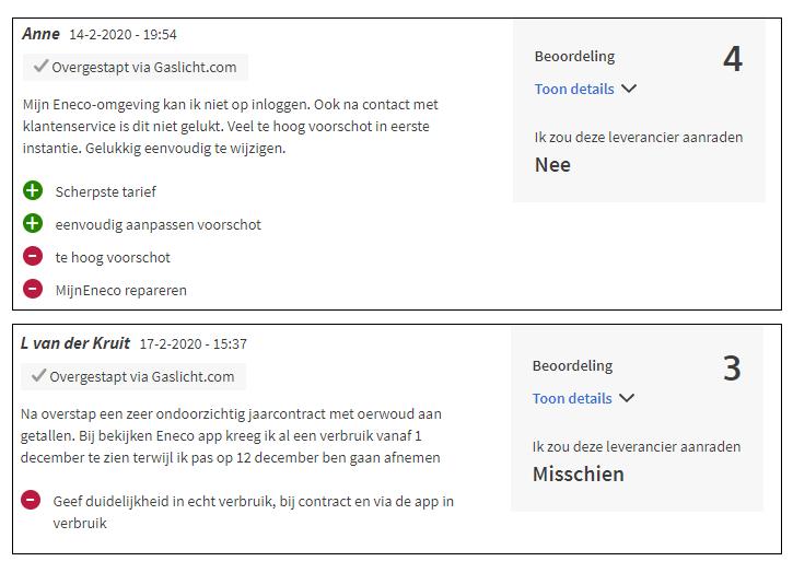 Eneco review met verbeterpunten